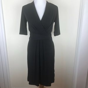 T Tahari Black V Neck High Waist Belted Dress
